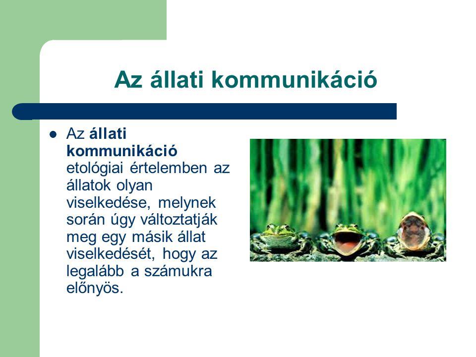 Az állati kommunikáció  Az állati kommunikáció etológiai értelemben az állatok olyan viselkedése, melynek során úgy változtatják meg egy másik állat viselkedését, hogy az legalább a számukra előnyös.