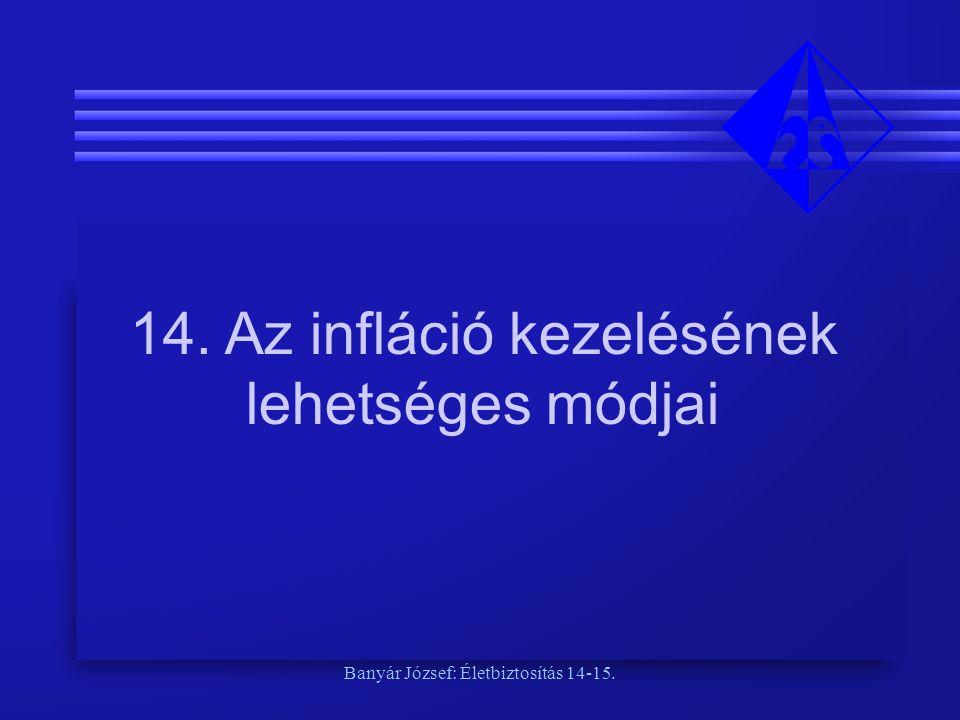 Banyár József: Életbiztosítás 14-15. 14. Az infláció kezelésének lehetséges módjai