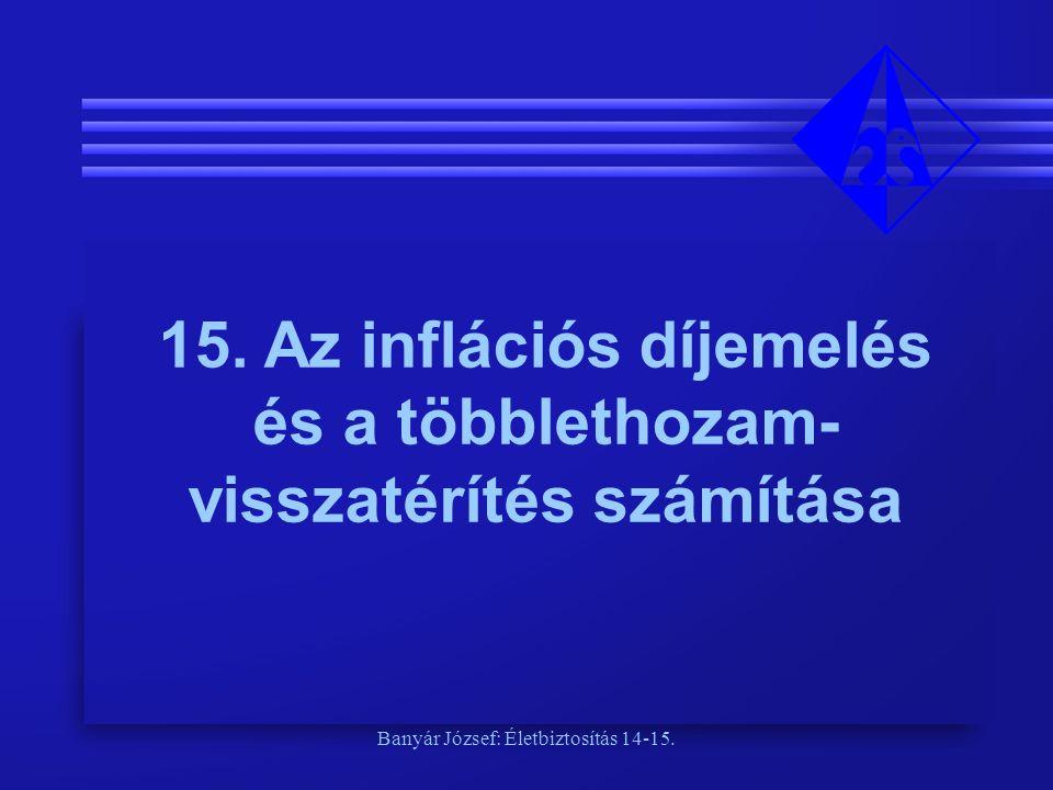 Banyár József: Életbiztosítás 14-15. 15. Az inflációs díjemelés és a többlethozam- visszatérítés számítása