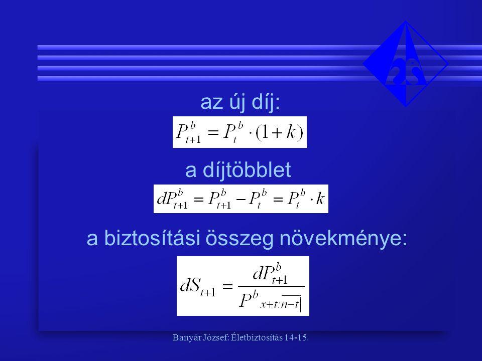 Banyár József: Életbiztosítás 14-15. az új díj: a díjtöbblet a biztosítási összeg növekménye: