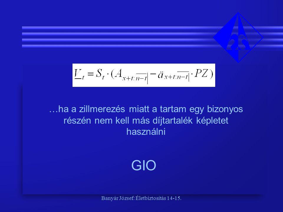 Banyár József: Életbiztosítás 14-15. …ha a zillmerezés miatt a tartam egy bizonyos részén nem kell más díjtartalék képletet használni GIO