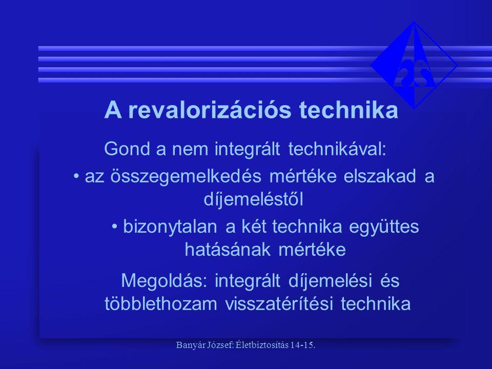 Banyár József: Életbiztosítás 14-15. A revalorizációs technika Gond a nem integrált technikával: • az összegemelkedés mértéke elszakad a díjemeléstől