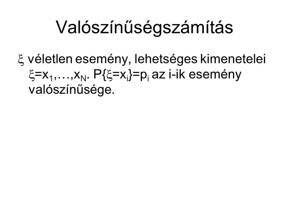 Valószínűségszámítás  véletlen esemény, lehetséges kimenetelei  =x 1,…,x N.