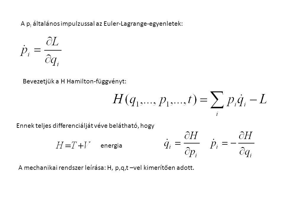 A p i általános impulzussal az Euler-Lagrange-egyenletek: Bevezetjük a H Hamilton-függvényt: Ennek teljes differenciálját véve belátható, hogy A mechanikai rendszer leírása: H, p,q,t –vel kimerítően adott.