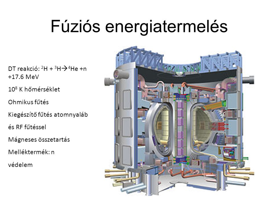 Fúziós energiatermelés DT reakció: 2 H + 3 H  4 He +n +17.6 MeV 10 8 K hőmérséklet Ohmikus fűtés Kiegészítő fűtés atomnyaláb és RF fűtéssel Mágneses összetartás Melléktermék: n védelem