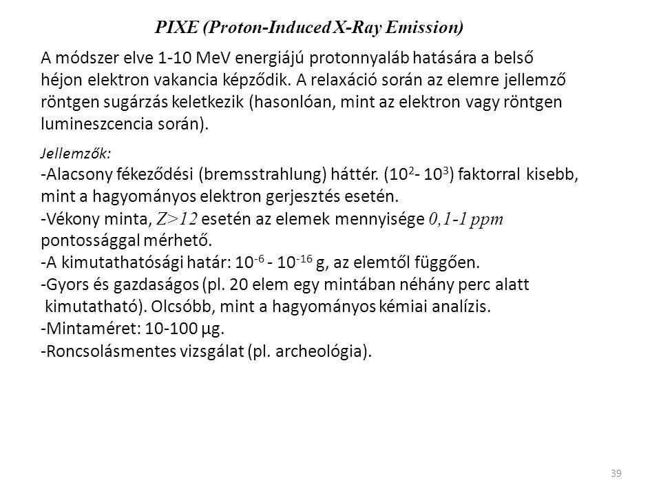 39 PIXE (Proton-Induced X-Ray Emission) A módszer elve 1-10 MeV energiájú protonnyaláb hatására a belső héjon elektron vakancia képződik. A relaxáció