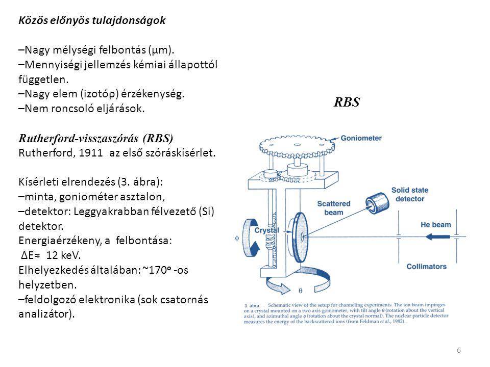 6 Közös előnyös tulajdonságok –Nagy mélységi felbontás (μm). –Mennyiségi jellemzés kémiai állapottól független. –Nagy elem (izotóp) érzékenység. –Nem