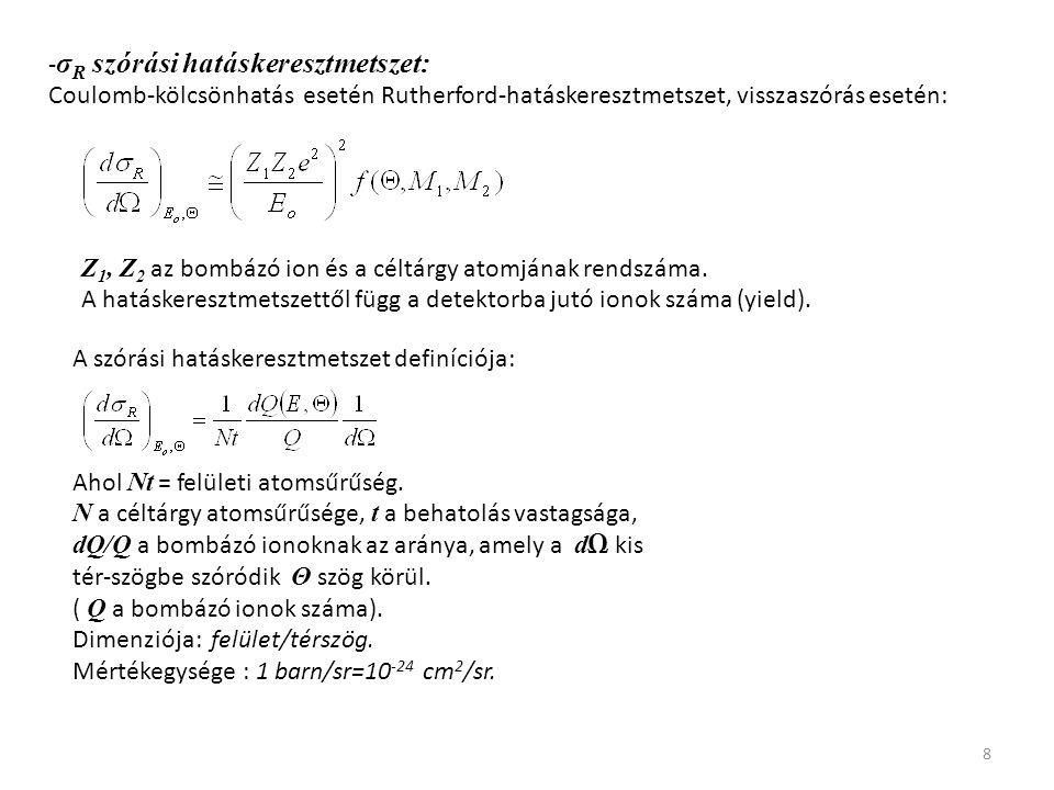 8 - σ R szórási hatáskeresztmetszet: Coulomb-kölcsönhatás esetén Rutherford-hatáskeresztmetszet, visszaszórás esetén: Z 1, Z 2 az bombázó ion és a cél