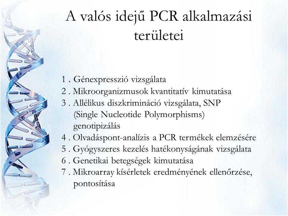 1. Génexpresszió vizsgálata 2. Mikroorganizmusok kvantitatív kimutatása 3. Allélikus diszkrimináció vizsgálata, SNP (Single Nucleotide Polymorphisms)