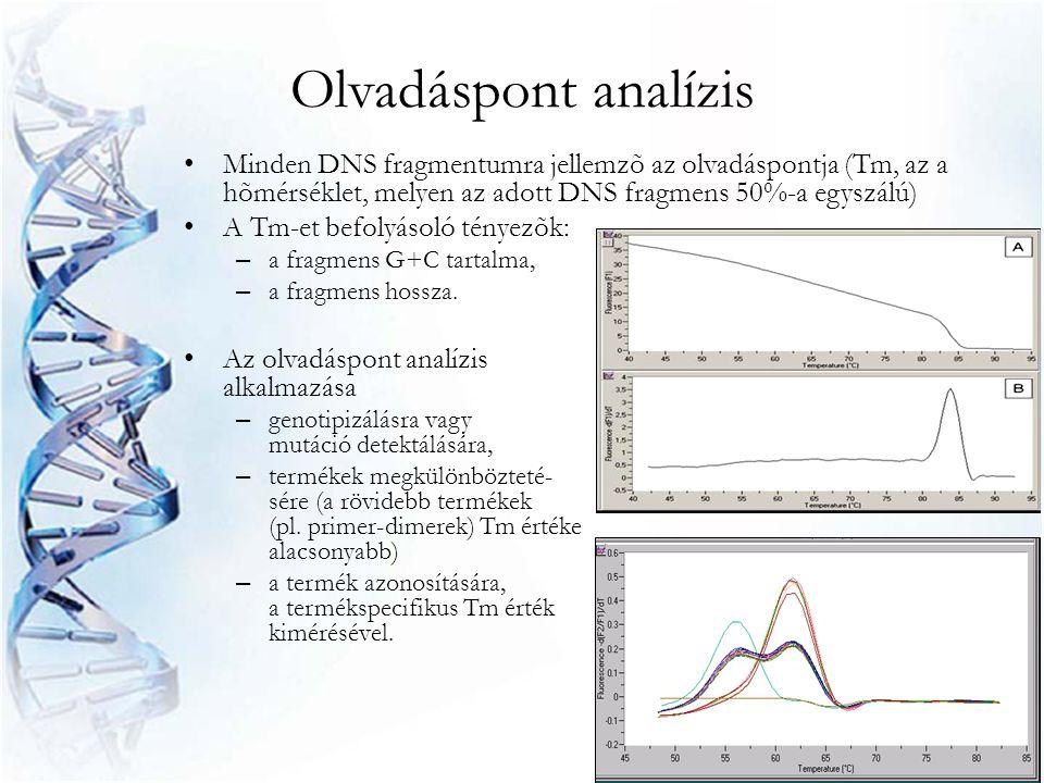 Olvadáspont analízis • Minden DNS fragmentumra jellemzõ az olvadáspontja (Tm, az a hõmérséklet, melyen az adott DNS fragmens 50%-a egyszálú) • A Tm-et