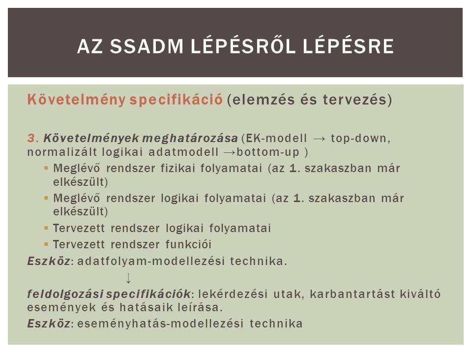 Követelmény specifikáció (elemzés és tervezés) 3. Követelmények meghatározása (EK-modell → top-down, normalizált logikai adatmodell →bottom-up )  Meg