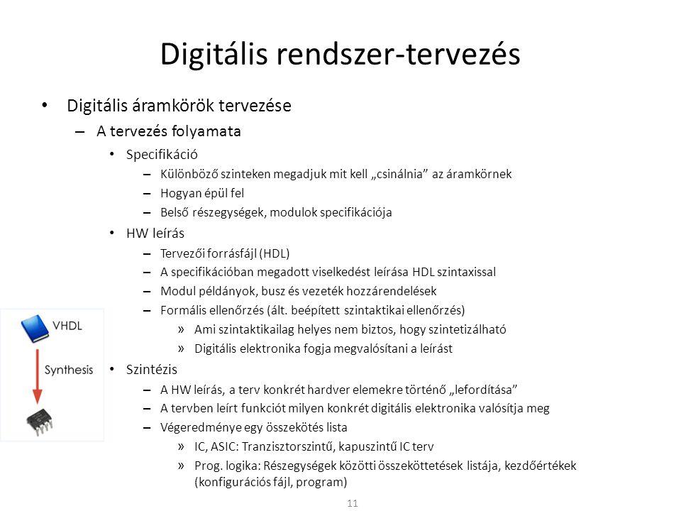 """Digitális rendszer-tervezés • Digitális áramkörök tervezése – A tervezés folyamata • Specifikáció – Különböző szinteken megadjuk mit kell """"csinálnia"""""""