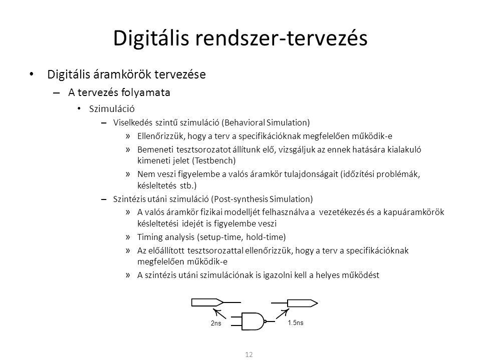 Digitális rendszer-tervezés • Digitális áramkörök tervezése – A tervezés folyamata • Szimuláció – Viselkedés szintű szimuláció (Behavioral Simulation)