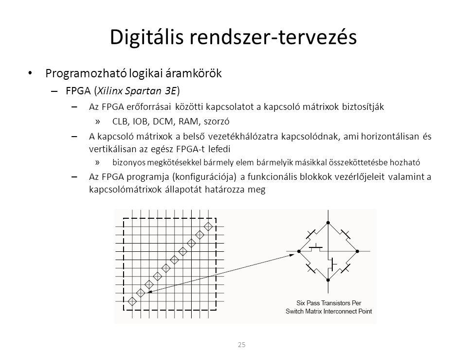 Digitális rendszer-tervezés • Programozható logikai áramkörök – FPGA (Xilinx Spartan 3E) – Az FPGA erőforrásai közötti kapcsolatot a kapcsoló mátrixok
