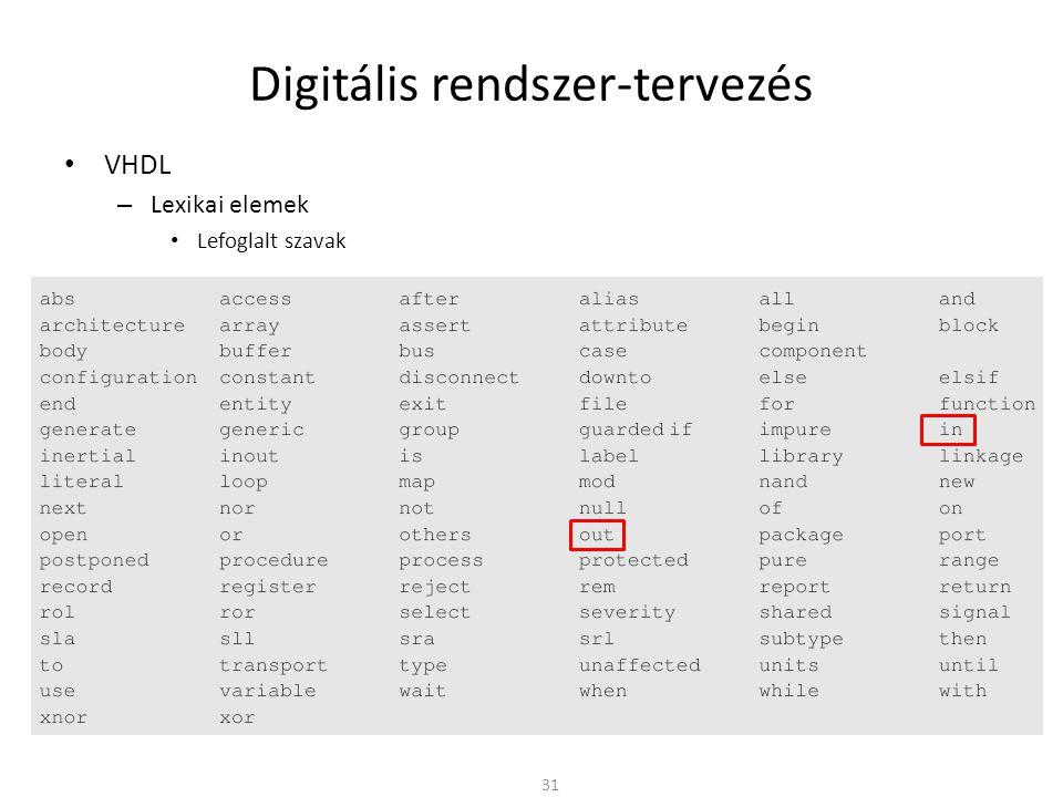 Digitális rendszer-tervezés • VHDL – Lexikai elemek • Lefoglalt szavak 31
