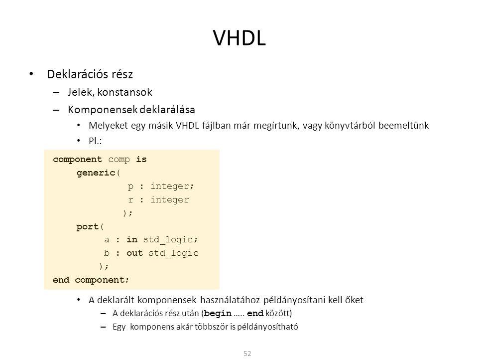 VHDL • Deklarációs rész – Jelek, konstansok – Komponensek deklarálása • Melyeket egy másik VHDL fájlban már megírtunk, vagy könyvtárból beemeltünk • P