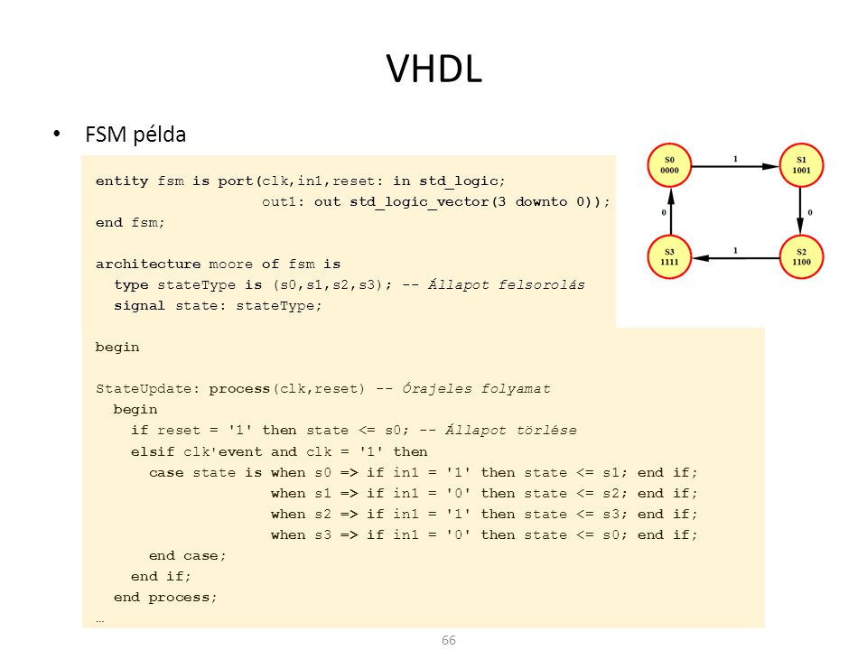 VHDL • FSM példa entity fsm is port(clk,in1,reset: in std_logic; out1: out std_logic_vector(3 downto 0)); end fsm; architecture moore of fsm is type s