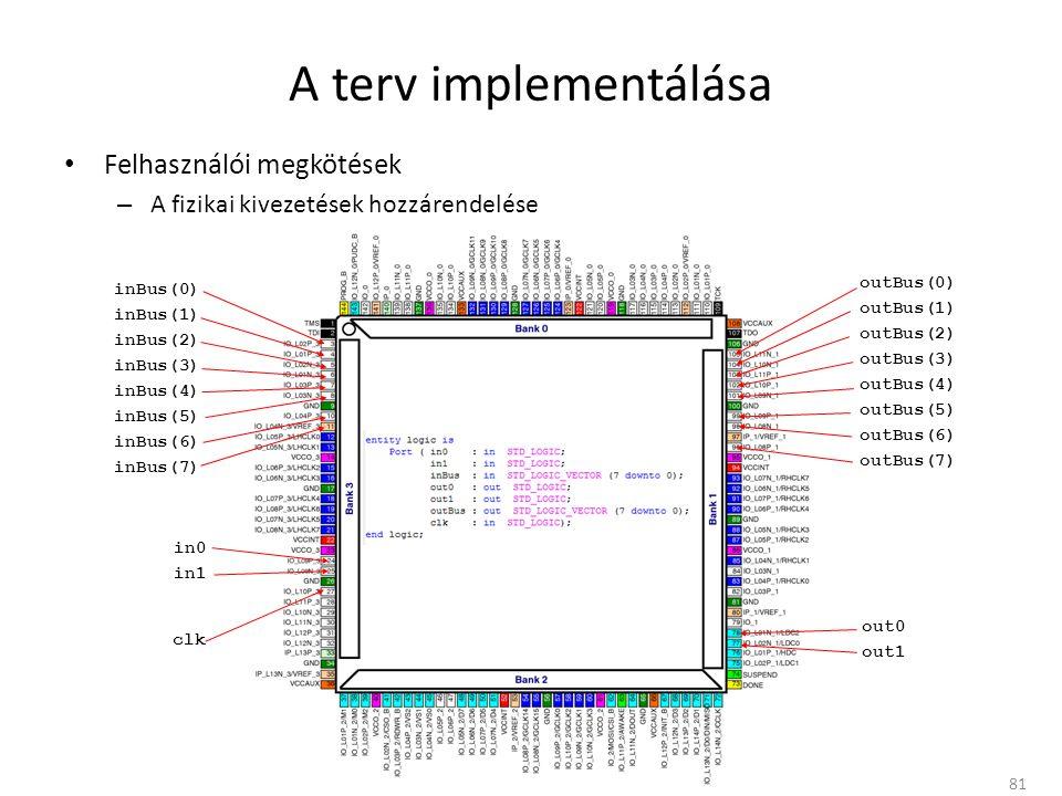 A terv implementálása • Felhasználói megkötések – A fizikai kivezetések hozzárendelése 81 outBus(0) outBus(1) outBus(2) outBus(3) outBus(4) outBus(5)