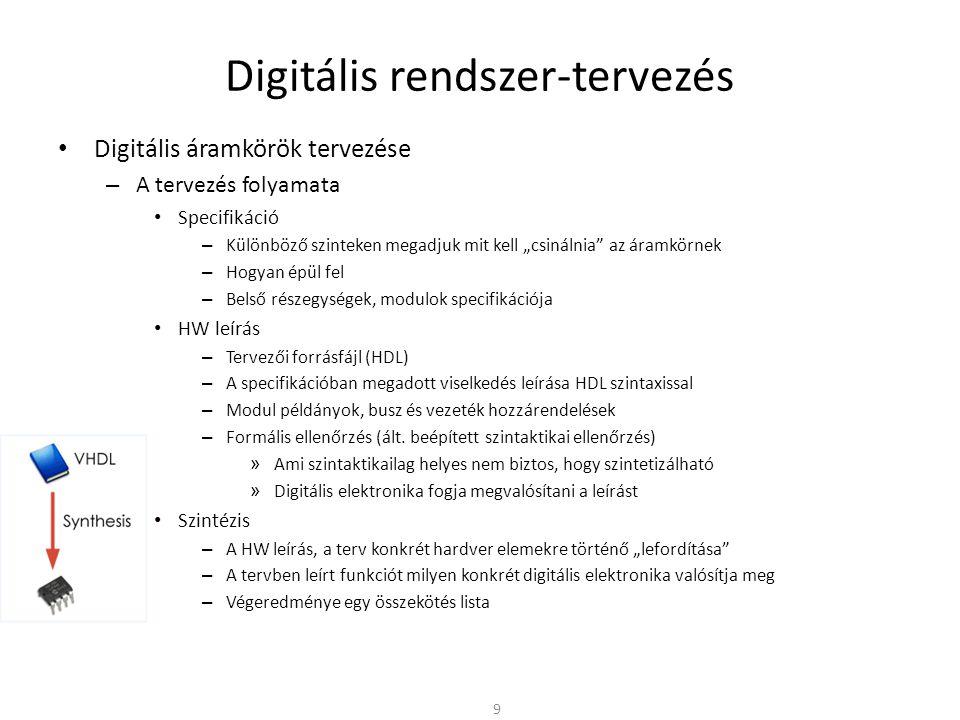 Digitális rendszer-tervezés • VHDL – Lexikai elemek • Azonosítók: – Betűk ( A-Z, a-z ), számok ( 0-9 ), aláhúzás (_) – Betüvel kell kezdődnie, pl.: sig; Sig; SIG; S_sig34 – A VHDL jelölésmódja nem tesz különbséget a nagybetűk és a kisbetűk között – Kivétel az egyes idézőjelek ( ) vagy a kettős idézőjelek ( ) közötti karakterek esetén • Megjegyzések: -- (2 db egymást követő kötőjel) -- comment • Karakterek: c ; C ; 56 • Stringek: string ; 10011 ; X FFA5 • Lefoglalt szavak nem használhatók 30