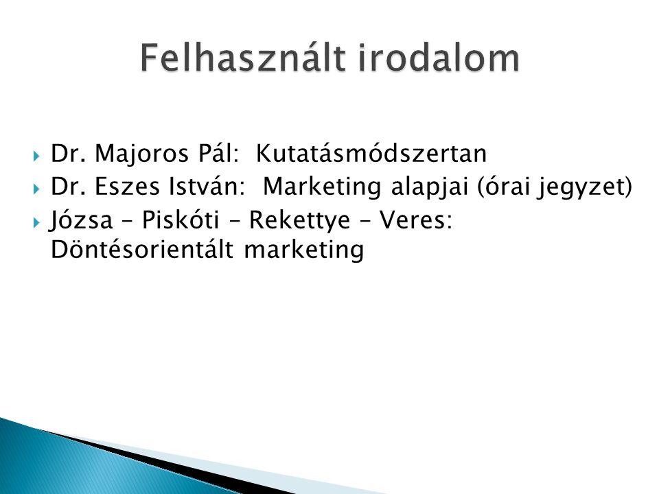  Dr. Majoros Pál: Kutatásmódszertan  Dr. Eszes István: Marketing alapjai (órai jegyzet)  Józsa – Piskóti – Rekettye – Veres: Döntésorientált market