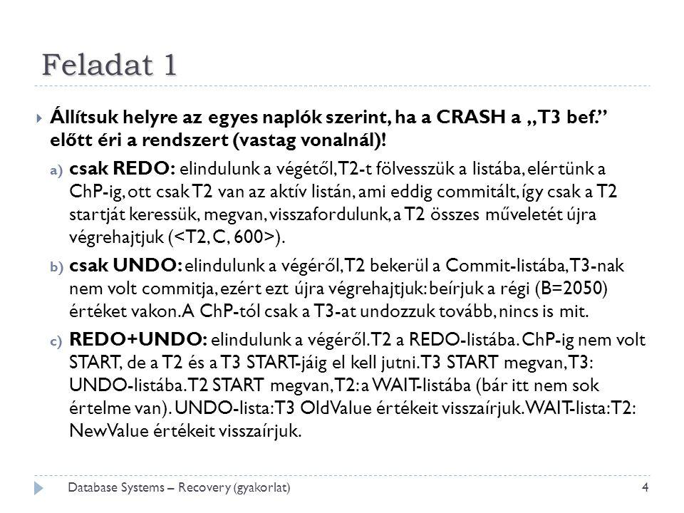 """Feladat 1  Állítsuk helyre az egyes naplók szerint, ha a CRASH a """"T3 bef. előtt éri a rendszert (vastag vonalnál)."""