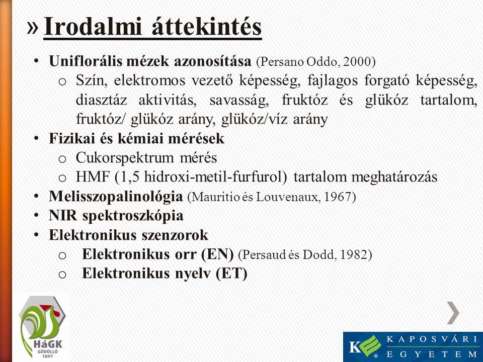 » Irodalmi áttekintés • Uniflorális mézek azonosítása (Persano Oddo, 2000) o Szín, elektromos vezető képesség, fajlagos forgató képesség, diasztáz akt
