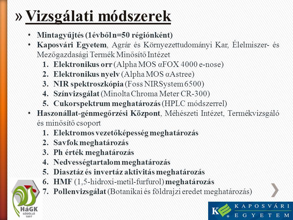 » Vizsgálati módszerek • Mintagyűjtés (1évből n=50 régiónként) • Kaposvári Egyetem, Agrár és Környezettudományi Kar, Élelmiszer- és Mezőgazdasági Term