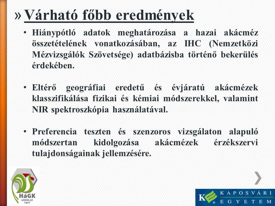 » Várható főbb eredmények • Hiánypótló adatok meghatározása a hazai akácméz összetételének vonatkozásában, az IHC (Nemzetközi Mézvizsgálók Szövetsége)