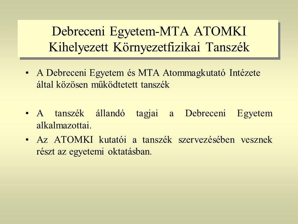 Debreceni Egyetem-MTA ATOMKI Kihelyezett Környezetfizikai Tanszék •A Debreceni Egyetem és MTA Atommagkutató Intézete által közösen működtetett tanszék •A tanszék állandó tagjai a Debreceni Egyetem alkalmazottai.