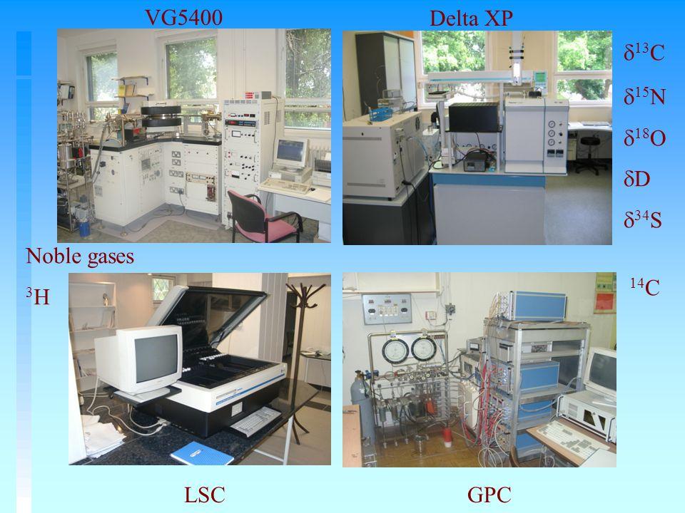 Delta XP  13 C  15 N  18 O  D  34 S GPC 14 C VG5400 Noble gases 3 H LSC