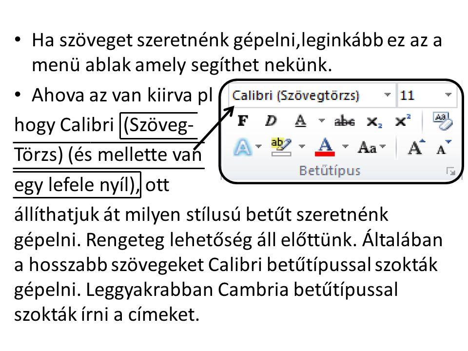 • Ha szöveget szeretnénk gépelni,leginkább ez az a menü ablak amely segíthet nekünk.