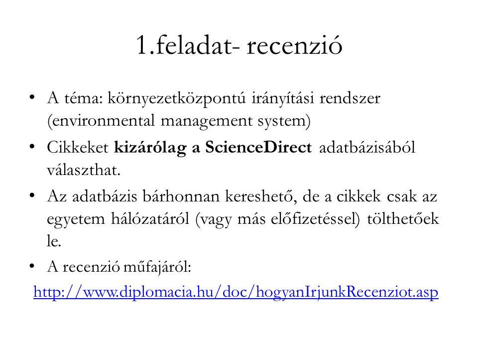 1.feladat- recenzió • A téma: környezetközpontú irányítási rendszer (environmental management system) • Cikkeket kizárólag a ScienceDirect adatbázisából választhat.