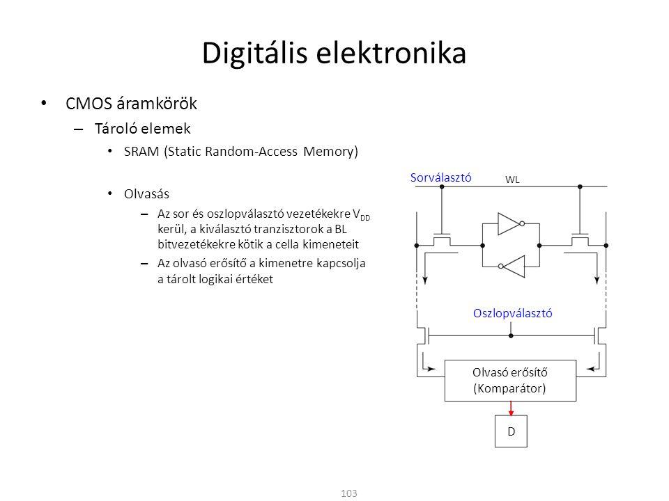 Digitális elektronika • CMOS áramkörök – Tároló elemek • SRAM (Static Random-Access Memory) • Olvasás – Az sor és oszlopválasztó vezetékekre V DD kerü