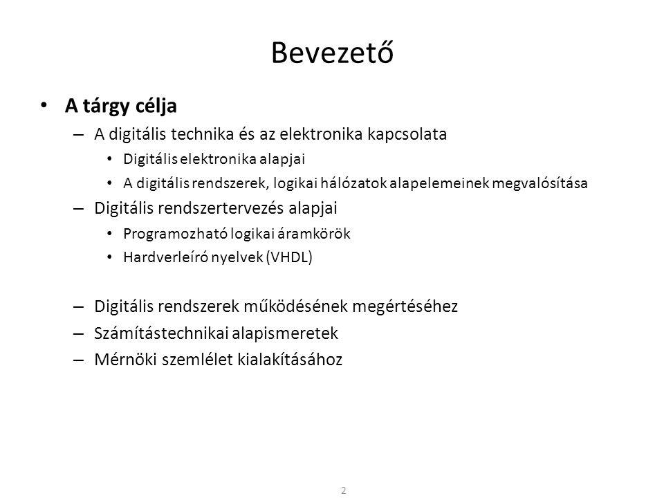 Bevezető • A tárgy célja – A digitális technika és az elektronika kapcsolata • Digitális elektronika alapjai • A digitális rendszerek, logikai hálózat