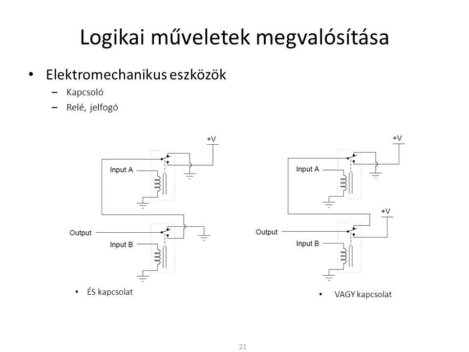 Logikai műveletek megvalósítása • Elektromechanikus eszközök – Kapcsoló – Relé, jelfogó • ÉS kapcsolat 21 • VAGY kapcsolat