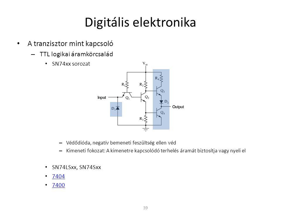 Digitális elektronika • A tranzisztor mint kapcsoló – TTL logikai áramkörcsalád • SN74xx sorozat – Védődióda, negatív bemeneti feszültség ellen véd –