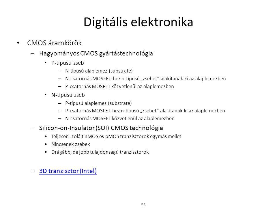 Digitális elektronika • CMOS áramkörök – Hagyományos CMOS gyártástechnológia • P-típusú zseb – N-típusú alaplemez (substrate) – N-csatornás MOSFET-hez