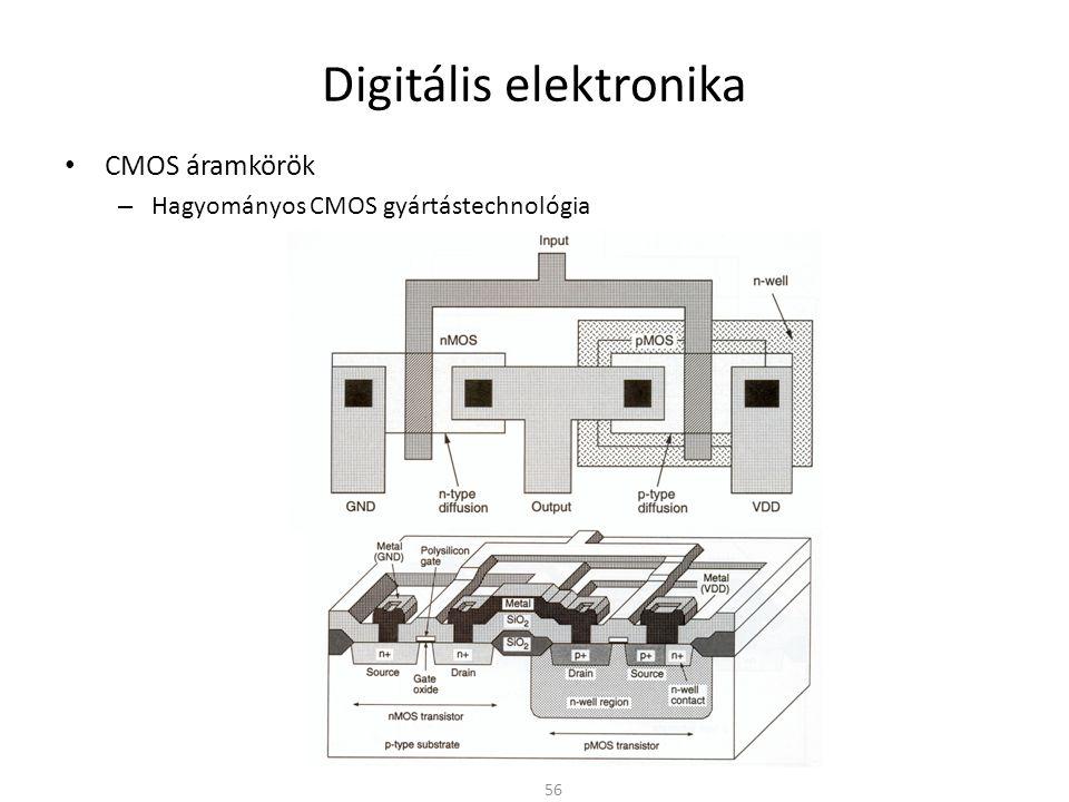 Digitális elektronika • CMOS áramkörök – Hagyományos CMOS gyártástechnológia 56