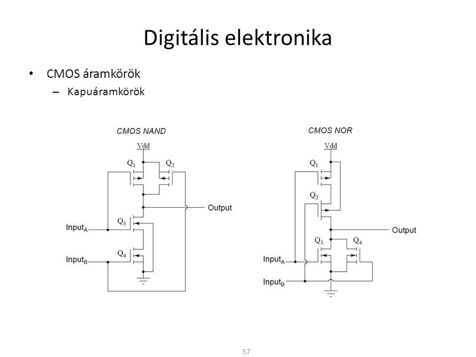 Digitális elektronika • CMOS áramkörök – Kapuáramkörök 57