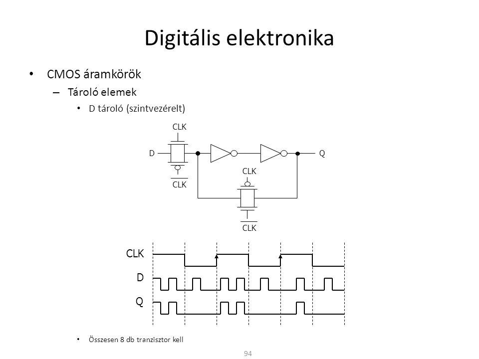 Digitális elektronika • CMOS áramkörök – Tároló elemek • D tároló (szintvezérelt) • Összesen 8 db tranzisztor kell 94 CLK DQ D Q