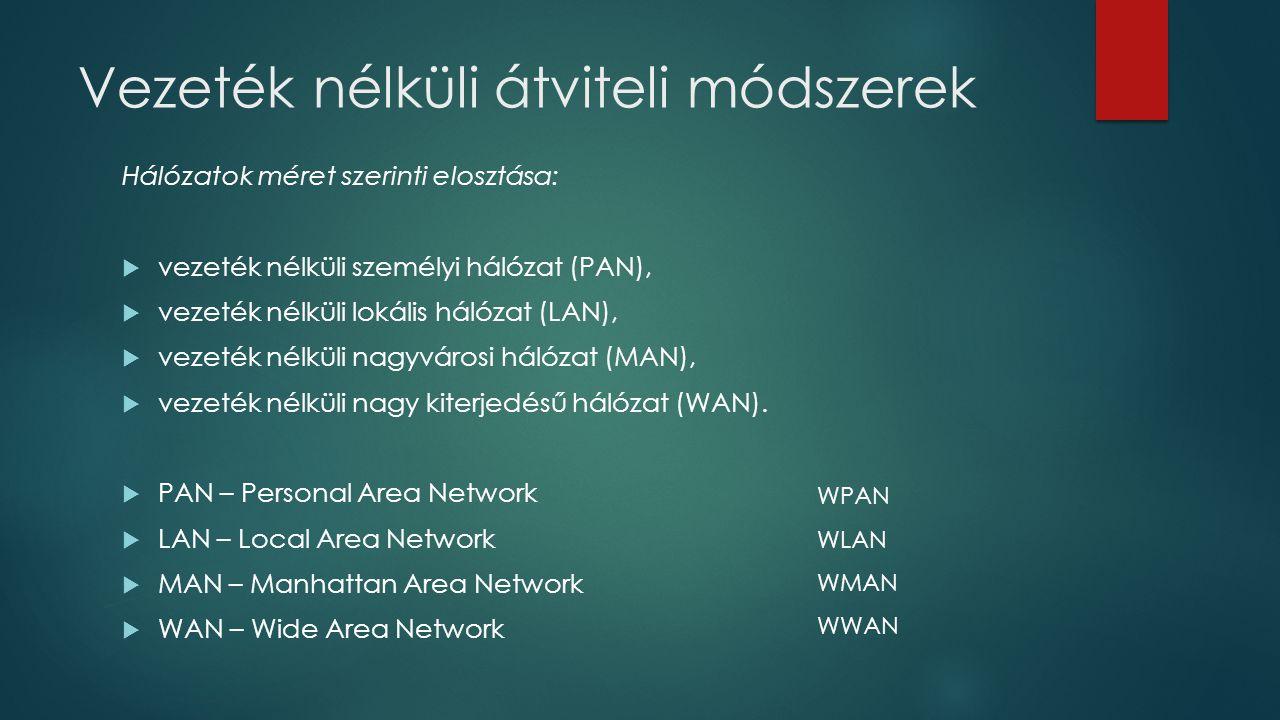 Hálózatok méret szerinti elosztása:  vezeték nélküli személyi hálózat (PAN),  vezeték nélküli lokális hálózat (LAN),  vezeték nélküli nagyvárosi há