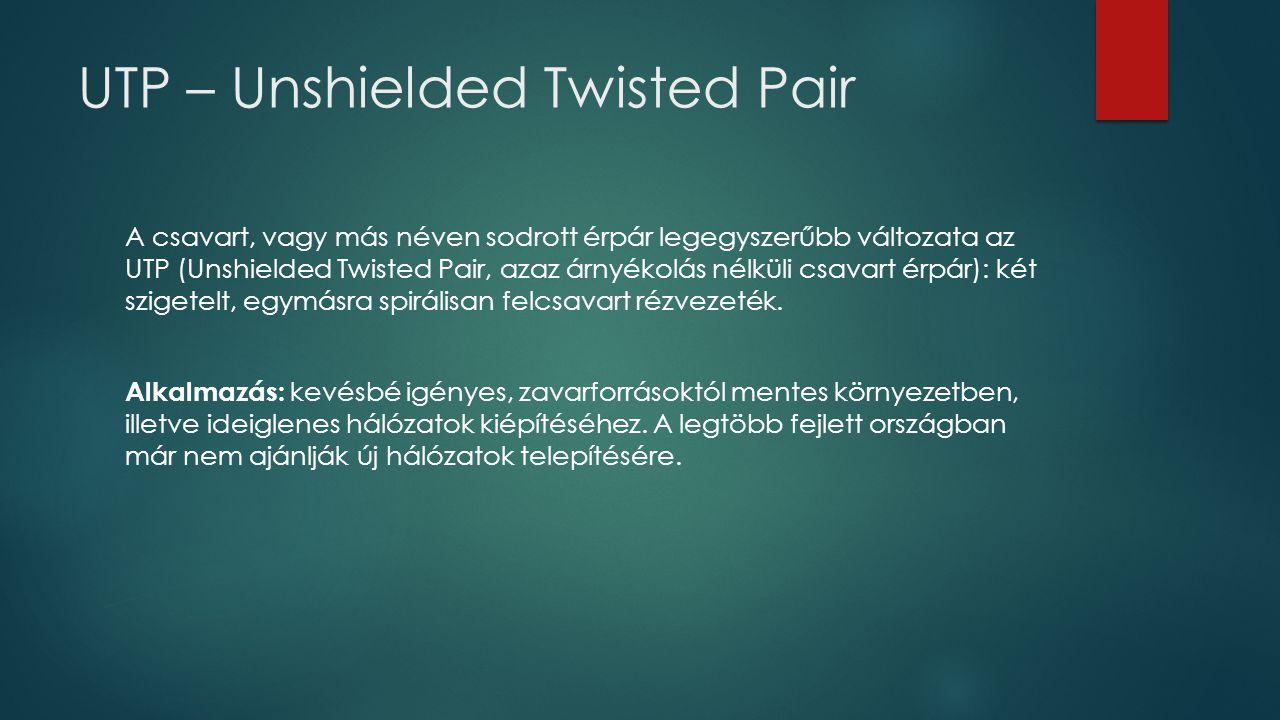 UTP – Unshielded Twisted Pair A csavart, vagy más néven sodrott érpár legegyszerűbb változata az UTP (Unshielded Twisted Pair, azaz árnyékolás nélküli
