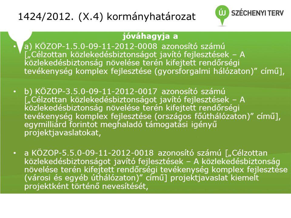 """1424/2012. (X.4) kormányhatározat jóváhagyja a • a) KÖZOP-1.5.0-09-11-2012-0008 azonosító számú [""""Célzottan közlekedésbiztonságot javító fejlesztések"""