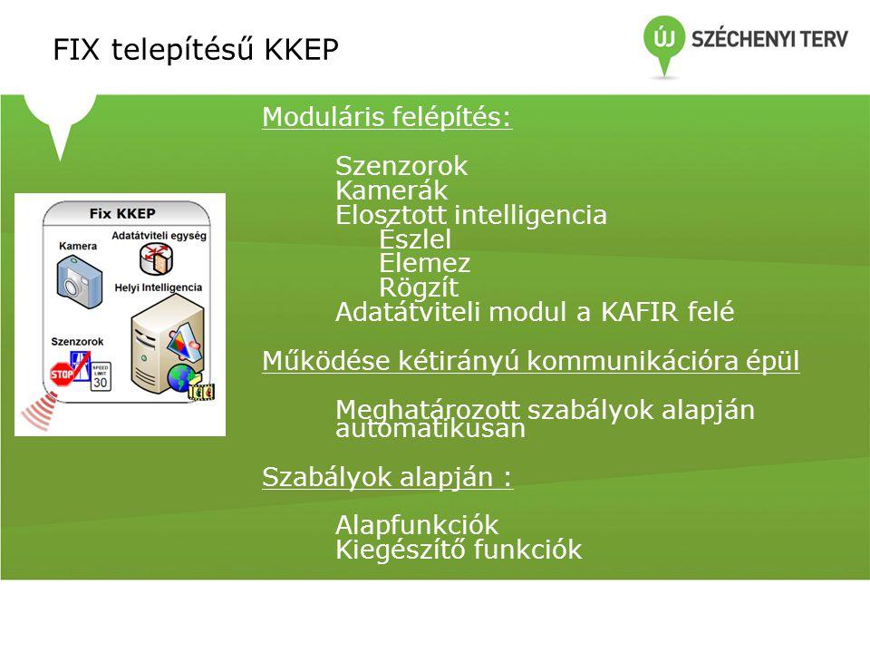FIX telepítésű KKEP Moduláris felépítés: Szenzorok Kamerák Elosztott intelligencia Észlel Elemez Rögzít Adatátviteli modul a KAFIR felé Működése kétir