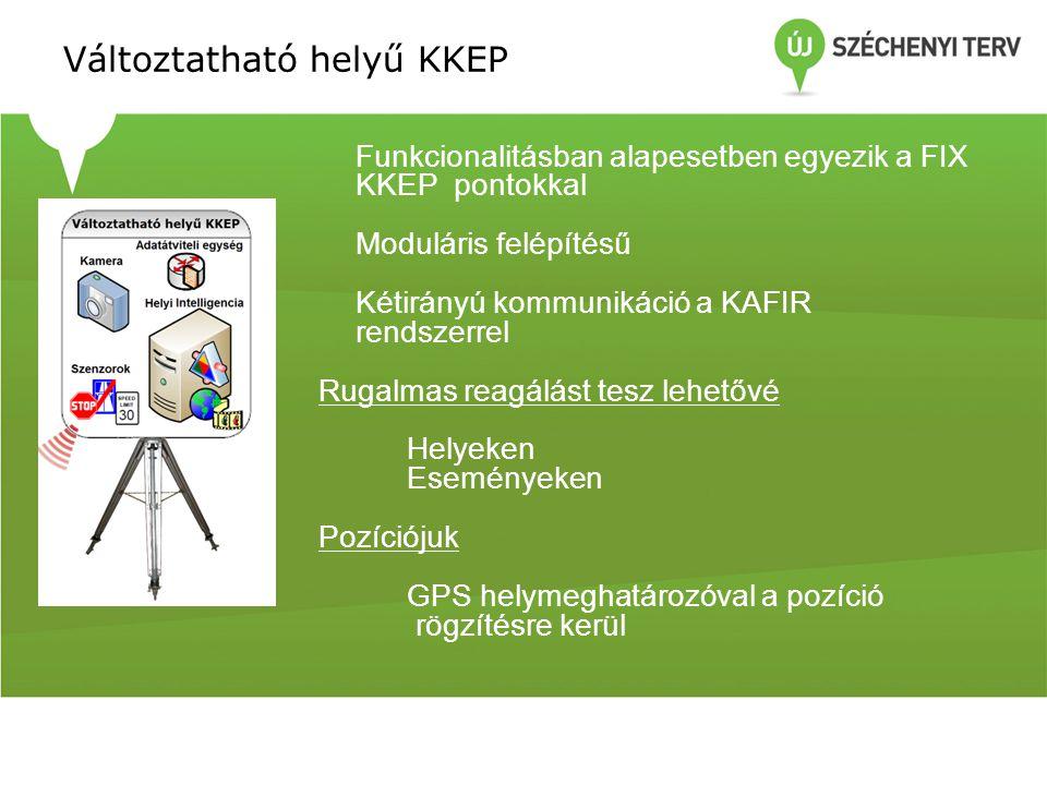 Változtatható helyű KKEP Funkcionalitásban alapesetben egyezik a FIX KKEP pontokkal Moduláris felépítésű Kétirányú kommunikáció a KAFIR rendszerrel Rugalmas reagálást tesz lehetővé Helyeken Eseményeken Pozíciójuk GPS helymeghatározóval a pozíció rögzítésre kerül