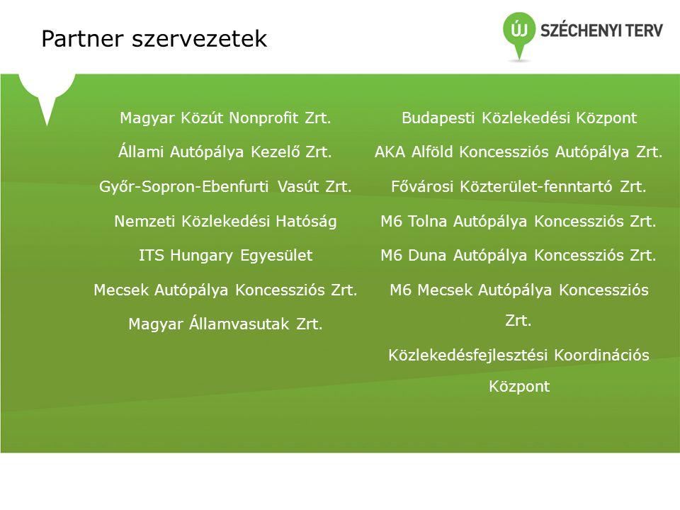 Partner szervezetek Magyar Közút Nonprofit Zrt. Állami Autópálya Kezelő Zrt. Győr-Sopron-Ebenfurti Vasút Zrt. Nemzeti Közlekedési Hatóság ITS Hungary