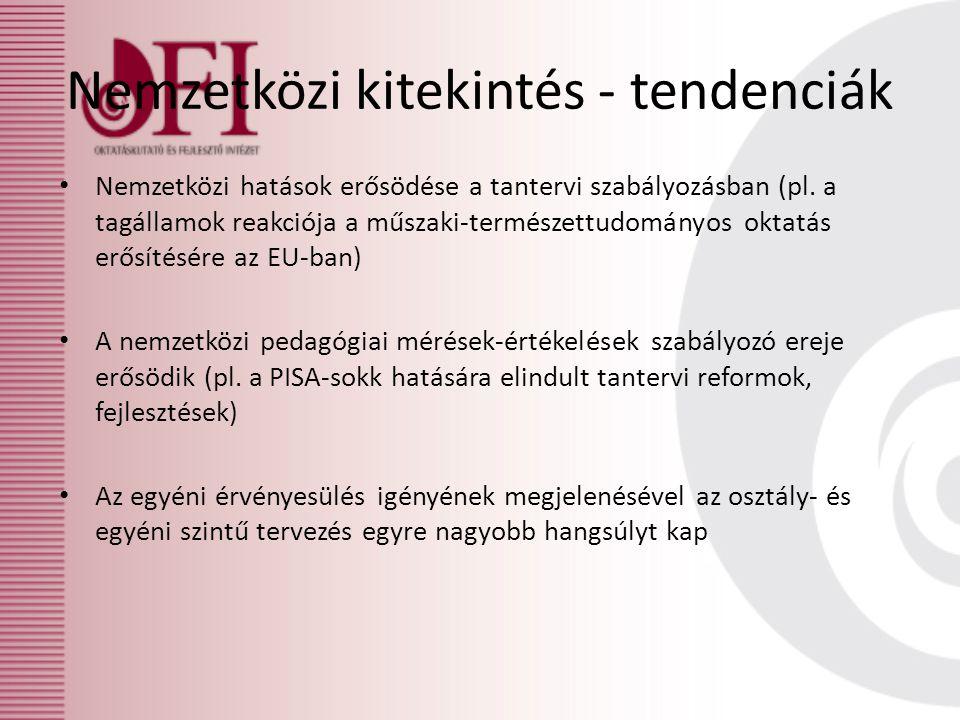 Nemzetközi kitekintés - tendenciák • Nemzetközi hatások erősödése a tantervi szabályozásban (pl.