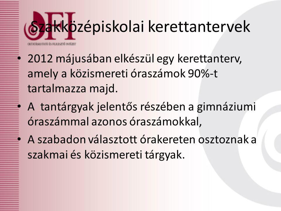 Szakközépiskolai kerettantervek • 2012 májusában elkészül egy kerettanterv, amely a közismereti óraszámok 90%-t tartalmazza majd.