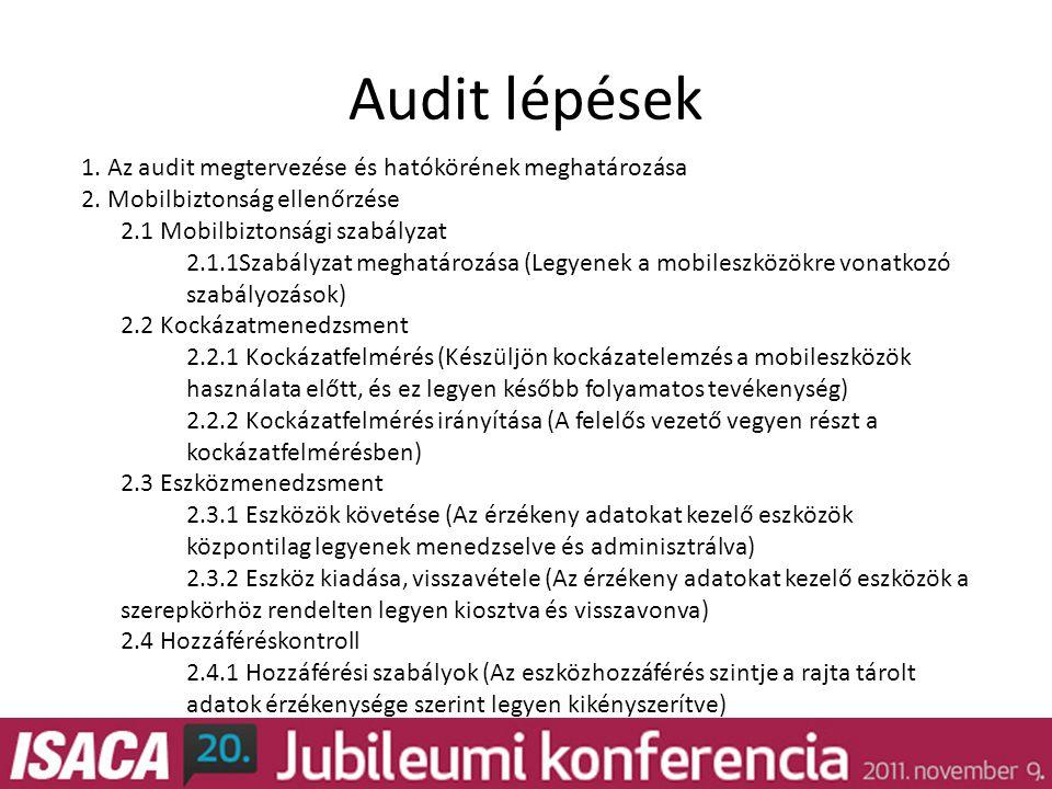 Audit lépések 1. Az audit megtervezése és hatókörének meghatározása 2.