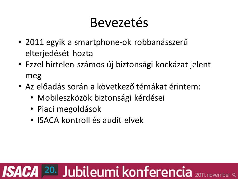 Bevezetés • 2011 egyik a smartphone-ok robbanásszerű elterjedését hozta • Ezzel hirtelen számos új biztonsági kockázat jelent meg • Az előadás során a következő témákat érintem: • Mobileszközök biztonsági kérdései • Piaci megoldások • ISACA kontroll és audit elvek